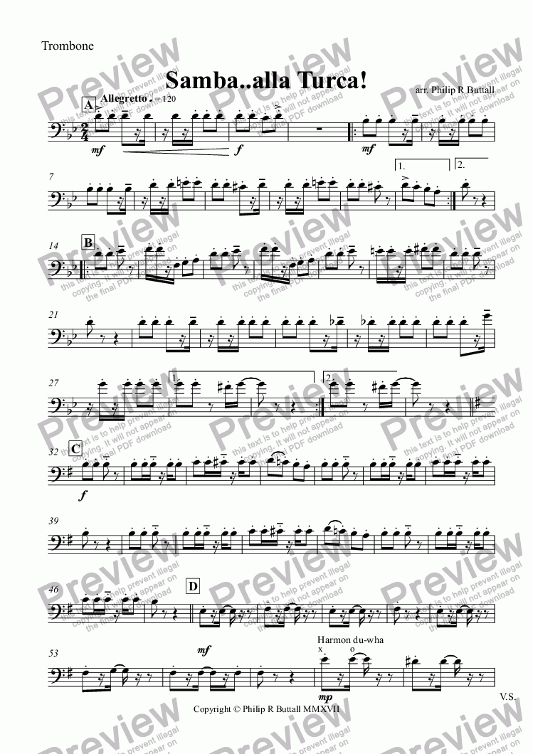 page one of the Trombone part from Samba..alla Turca! (Small Orchestra)