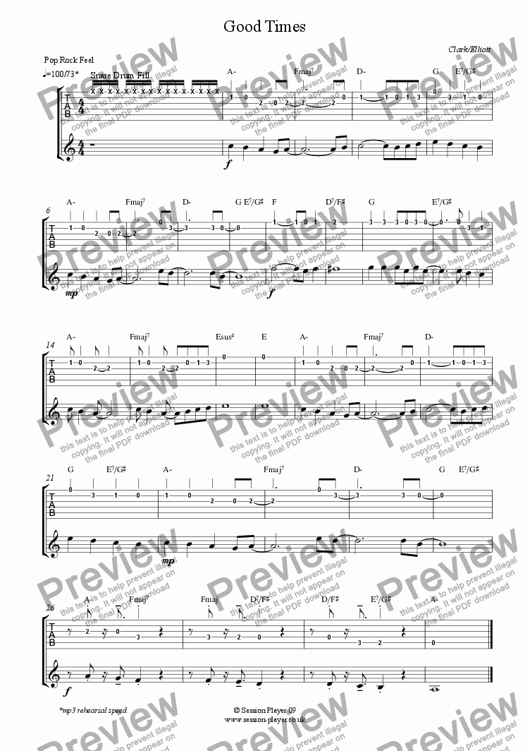 page one of the Guitar Level 2 - Good Times part from Guitar Level 2 - Good Times
