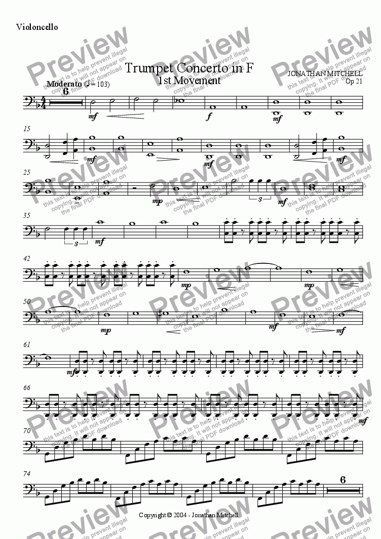 page one of the Cello part from Trumpet Concerto in F - 1st Movement