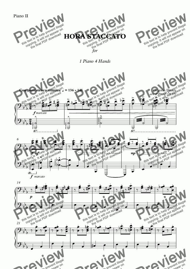 page one of the Piano II part from G. Dinicu - HORA STACCATO - piano 4 hands