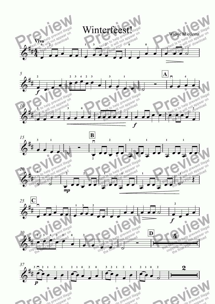 page one of the Winterfeest - Viool 3 part from Winterfeest - Full Score