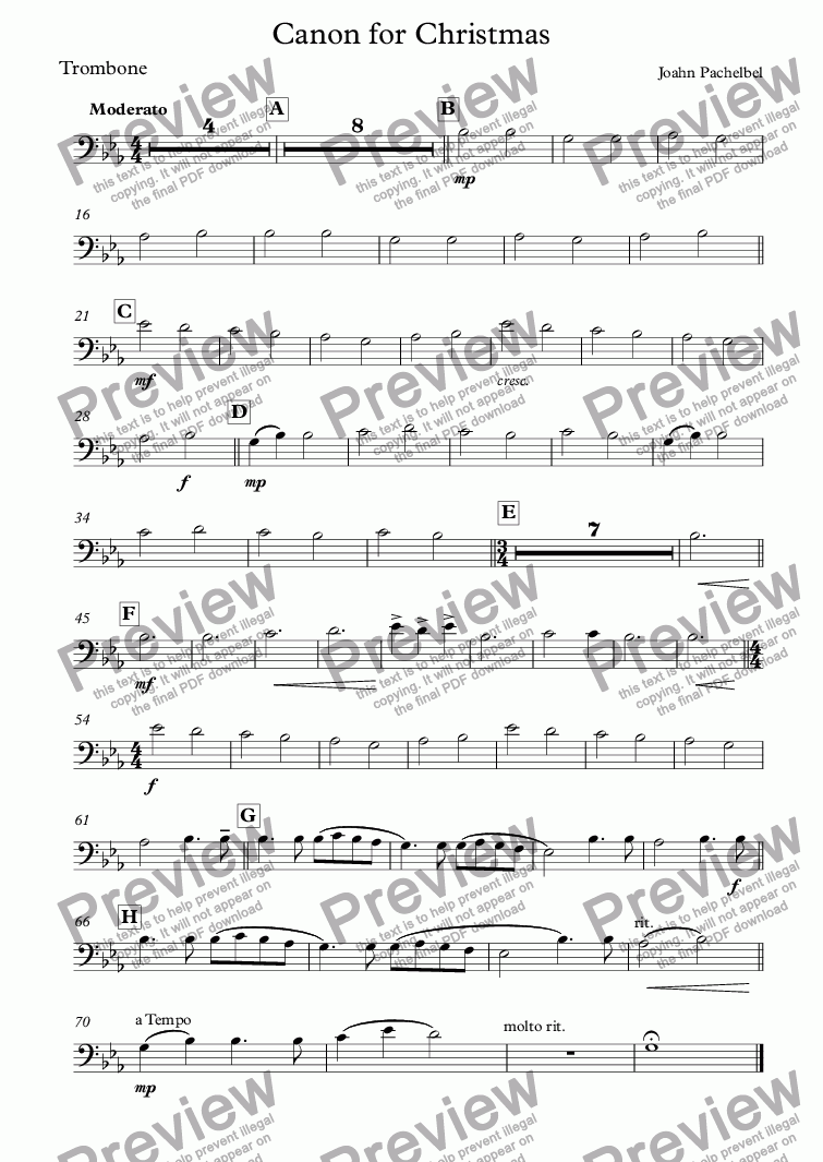 page one of the Trombone part from Canon for Christmas