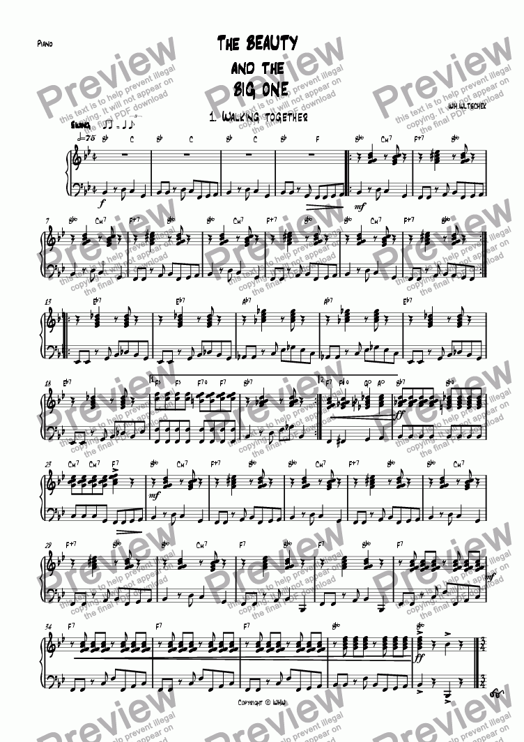 page one of the Piano part from The beauty and the big one