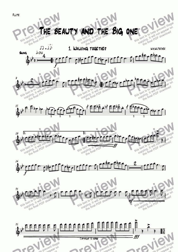 page one of the Flute part from The beauty and the big one