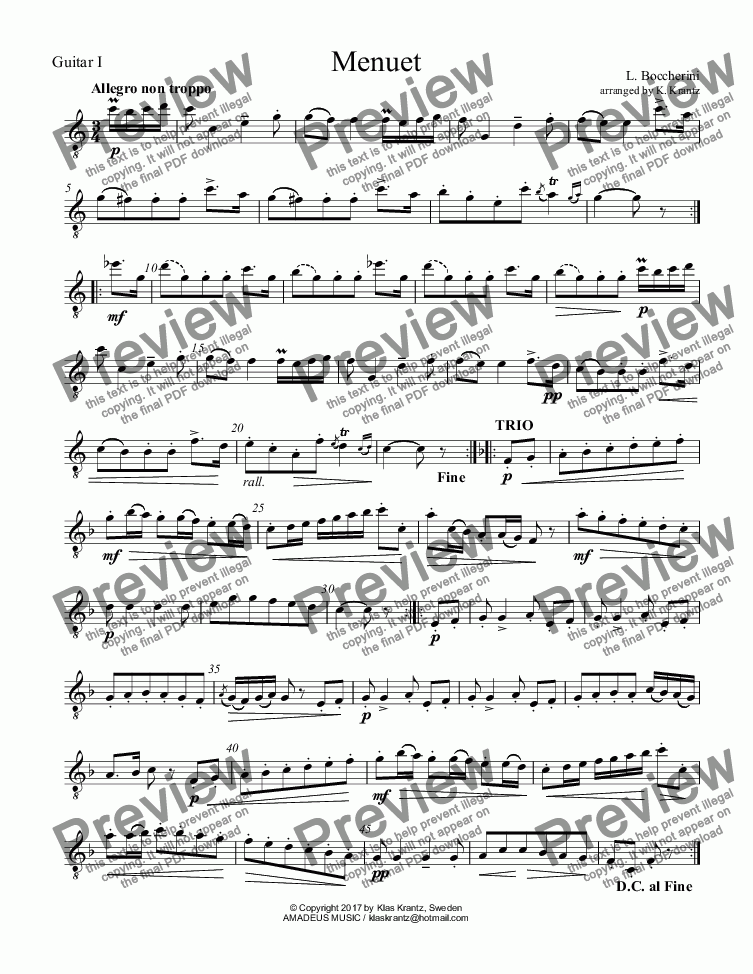 page one of the Guitar I part from Menuet From string quintet in E major, for guitar trio