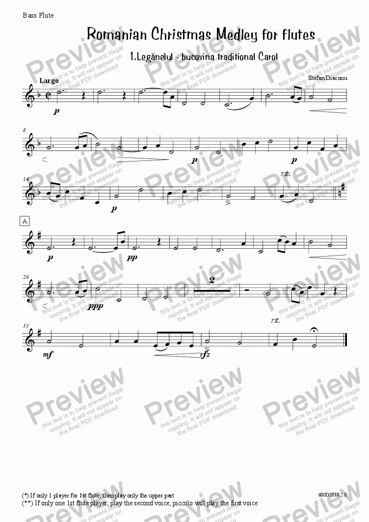 page one of the bass flute part from Traditional Romanian Carol from Bucovina