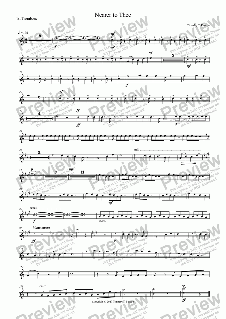 page one of the 1st Trombone part from Nearer to Thee
