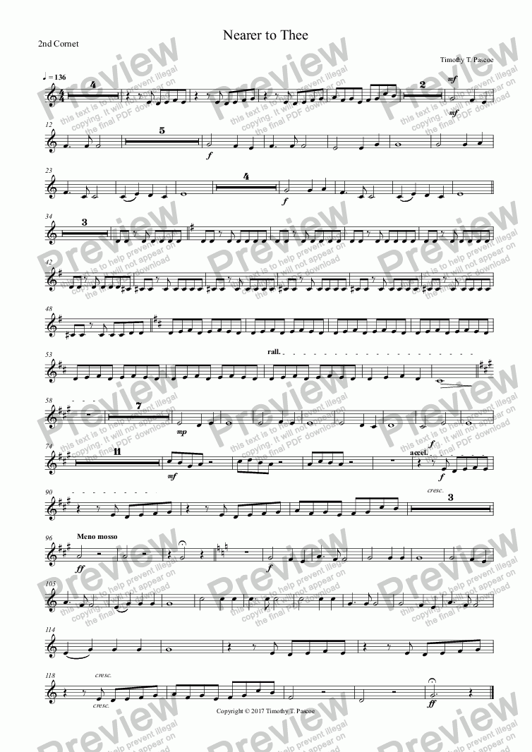 page one of the 2nd Cornet part from Nearer to Thee