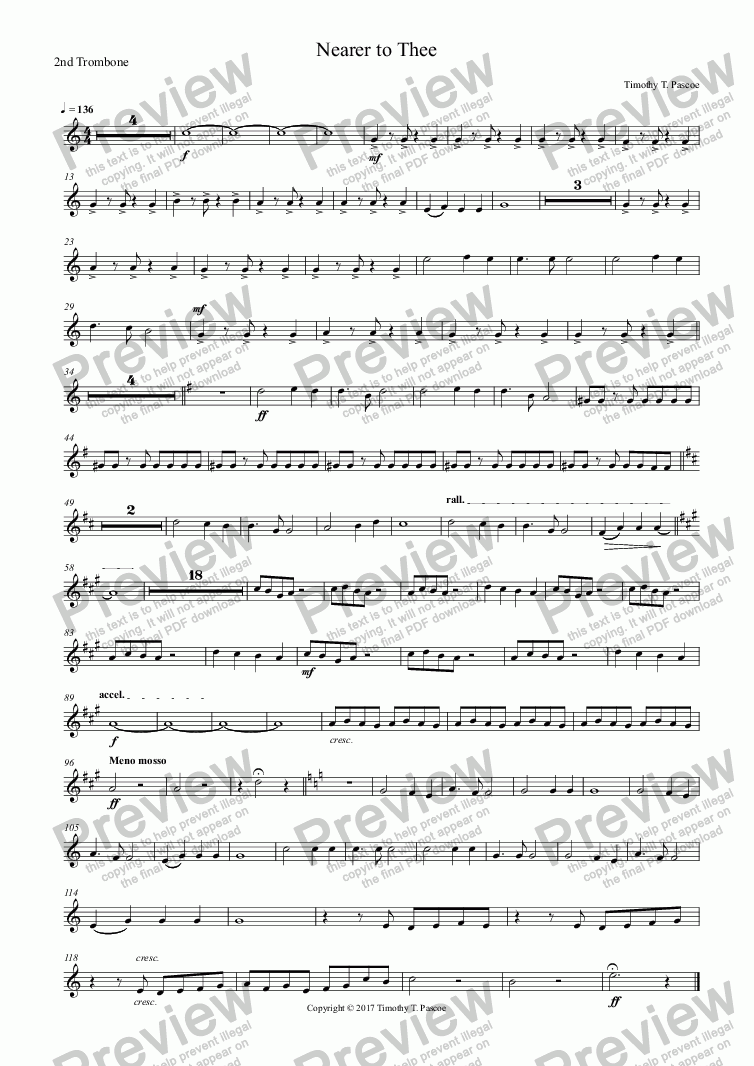 page one of the 2nd Trombone part from Nearer to Thee