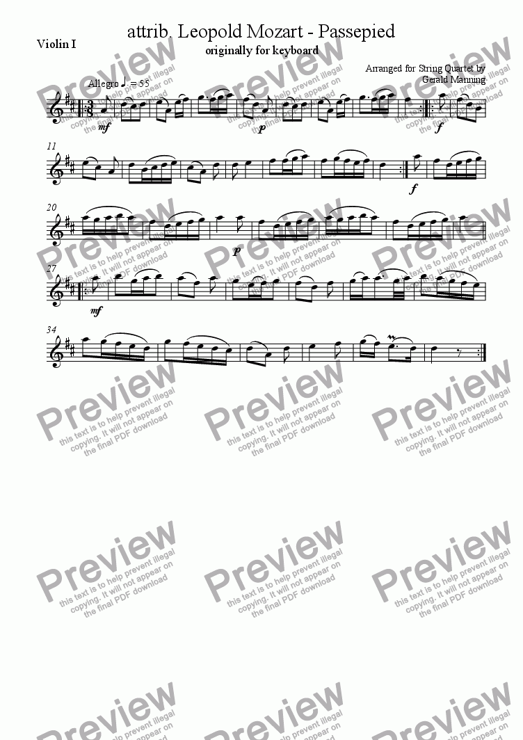 page one of the Violin 1 part from MOZART, Leopold. -PASSEPIED arr. for String Quartet by Gerald Manning