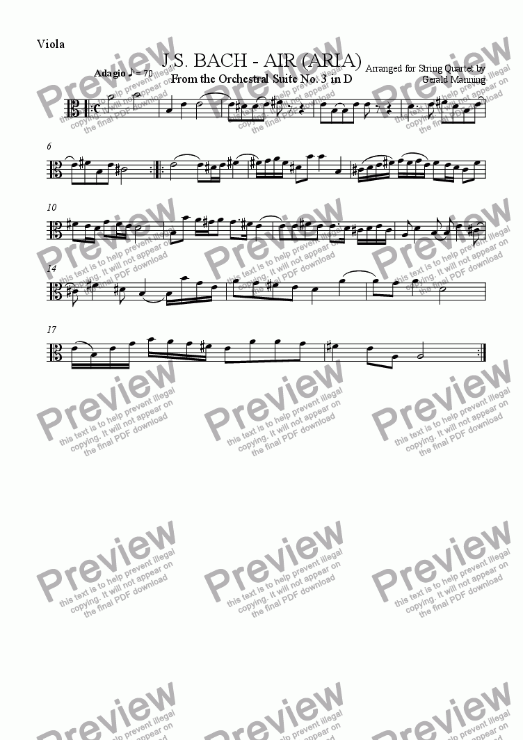 page one of the Viola part from BACH, J.S. - AIR arr. for String Quartet by Gerald Manning