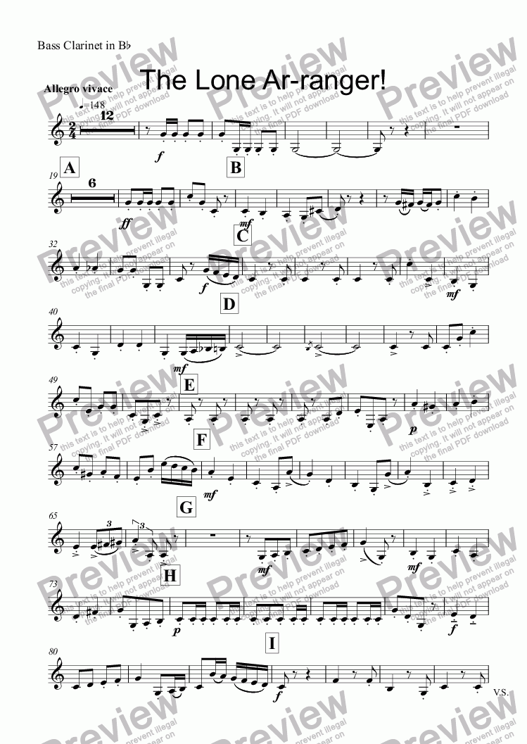 page one of the Bass Clarinet in Bb part from The Lone Ar-ranger! (Mixed Wind Quartet No 2)