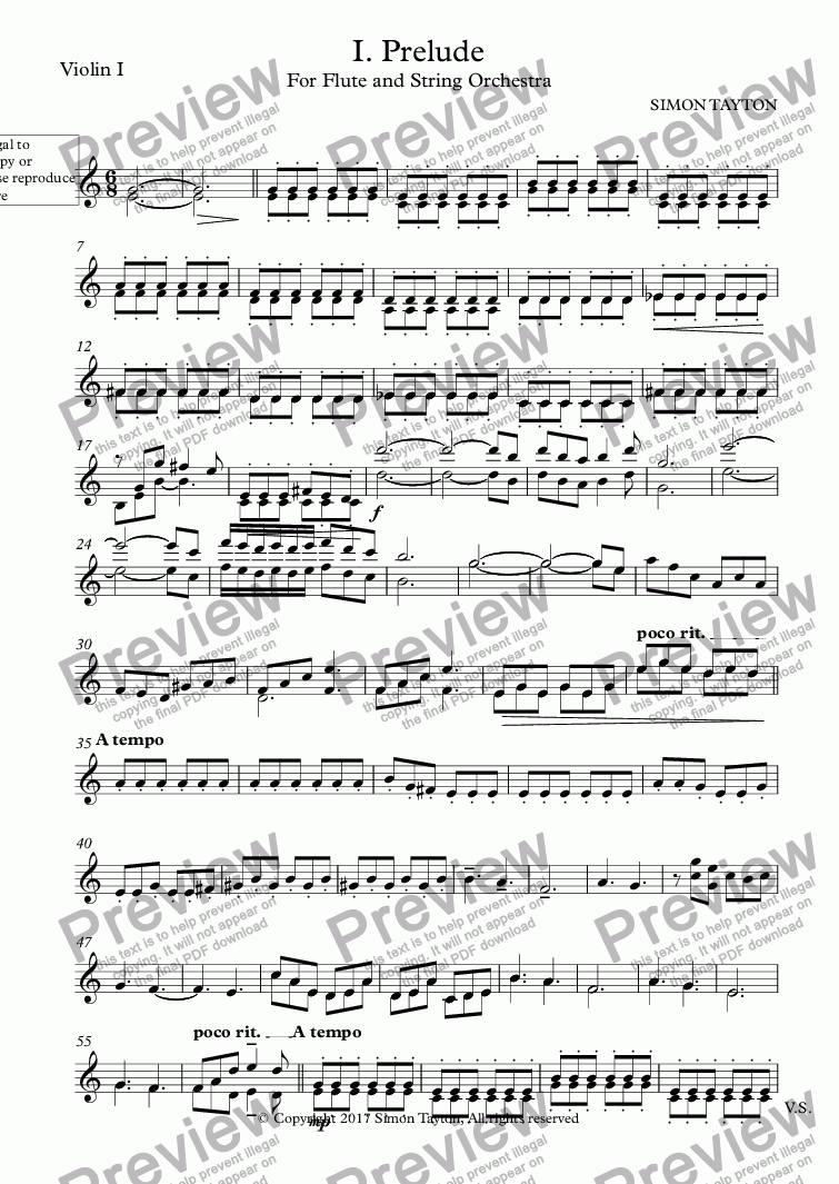 page one of the Violin I part from I. Prelude for Flute and String Orchestra