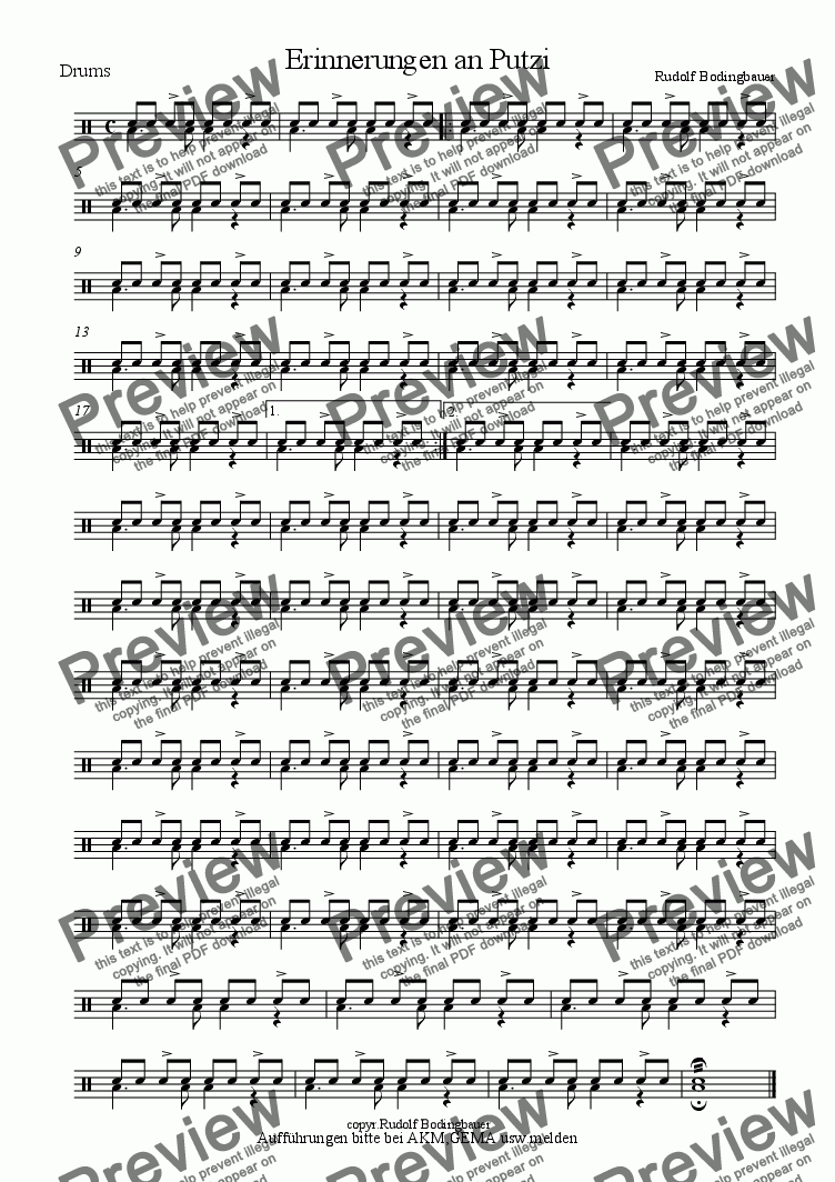 page one of the Drums part from Erinnerungen an Putzi  Sax + Begl.