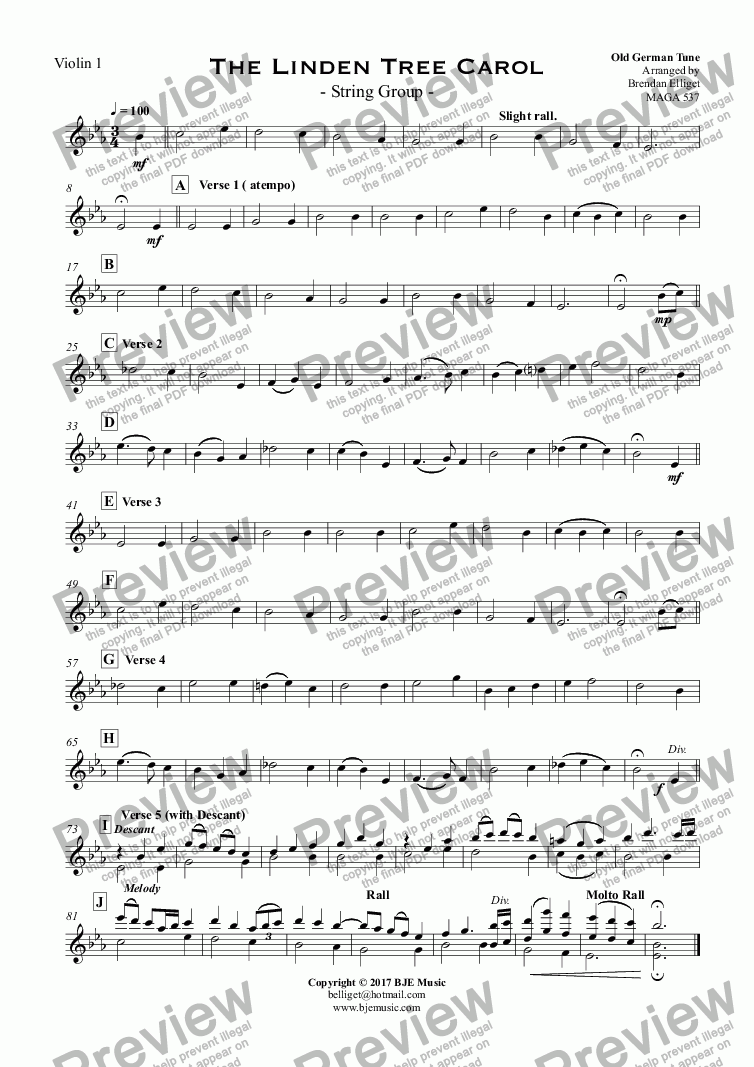 page one of the Violin 1 part from The Linden Tree Carol - String Group