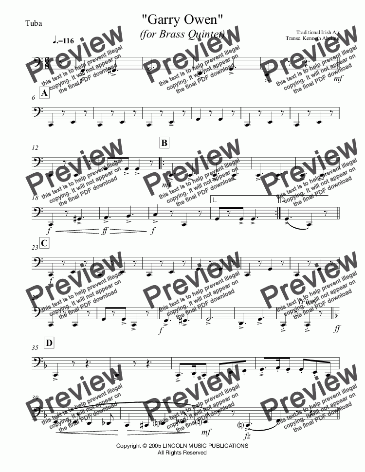 page one of the Tuba part from March - Garry Owen (Brass Quintet)