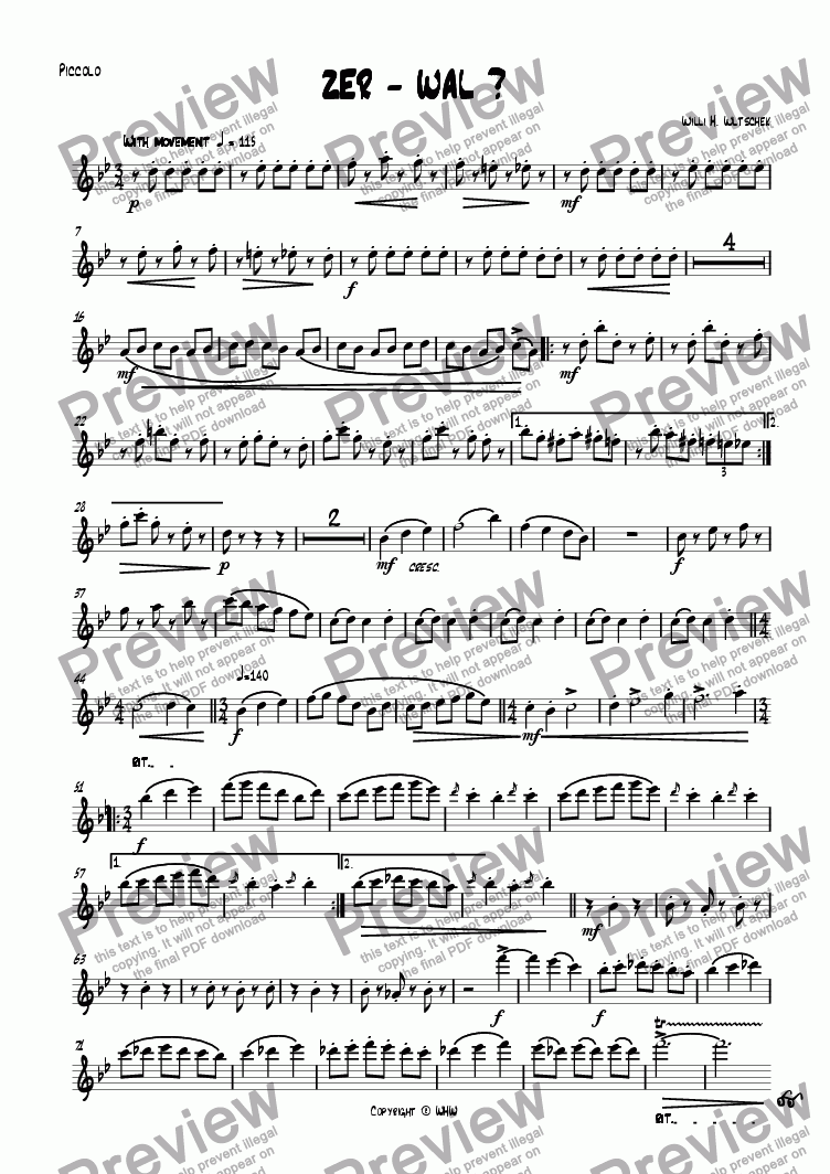 page one of the Piccolo part from ZER - WAL?