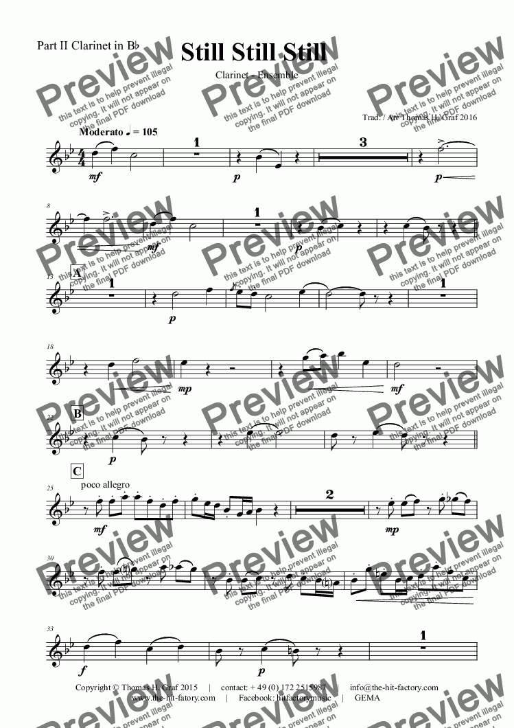 page one of the Part II Clarinet in B^b part from Still Still Still - Christmas song  - 7 Parts - Clarinet Ensemble