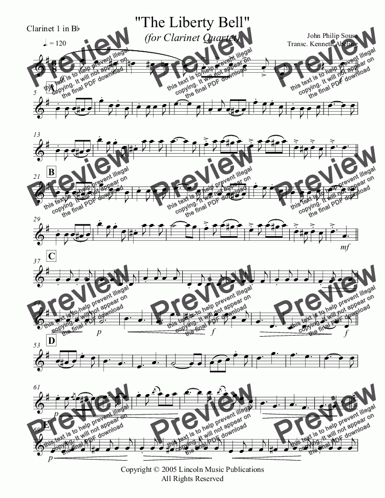 page one of the Clarinet 1 in Bb part from March - The Liberty Bell (Clarinet Quartet)