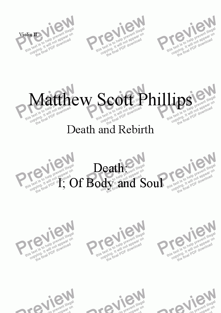 page one of the Violin II part from 001: Death; Of Body and Soul