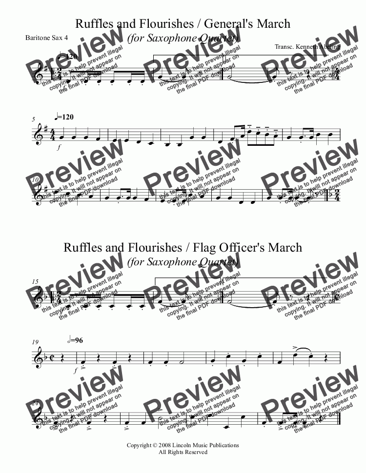 page one of the Baritone Sax 4 part from March - The General's & Flag Officer's Marches (for Saxophone Quartet)