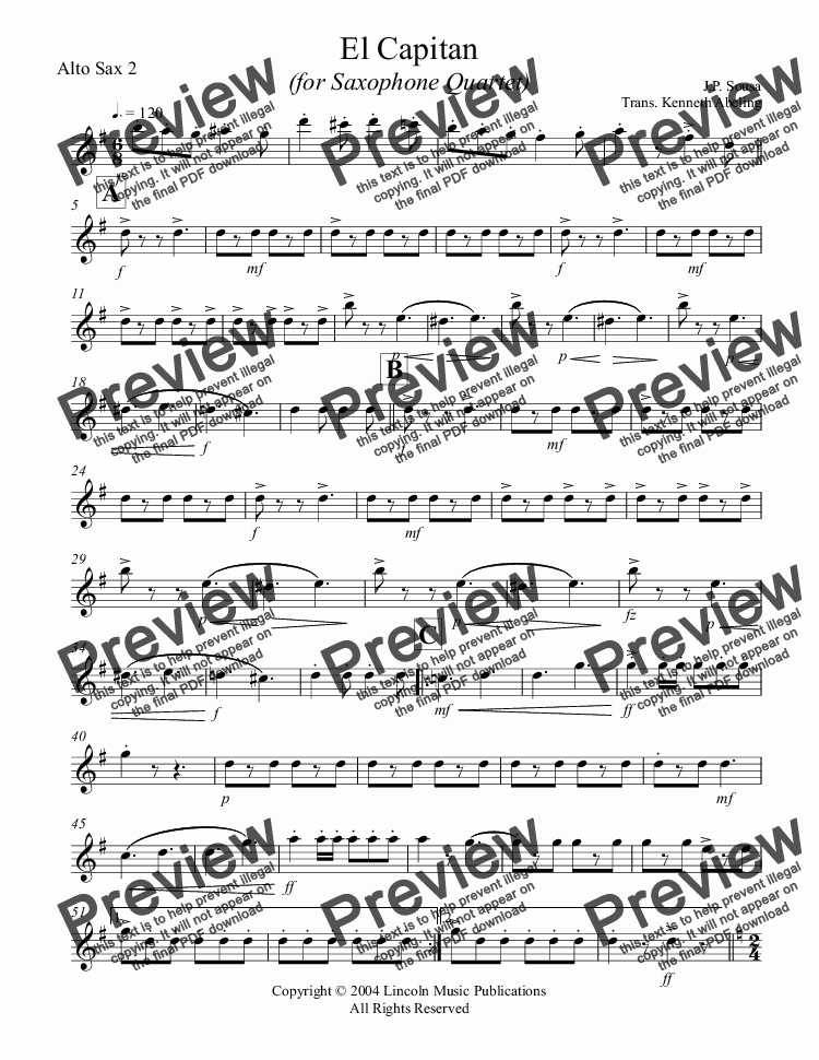 page one of the Alto Sax 2 part from March - El Capitan (Sax Quartet SATB or AATB)