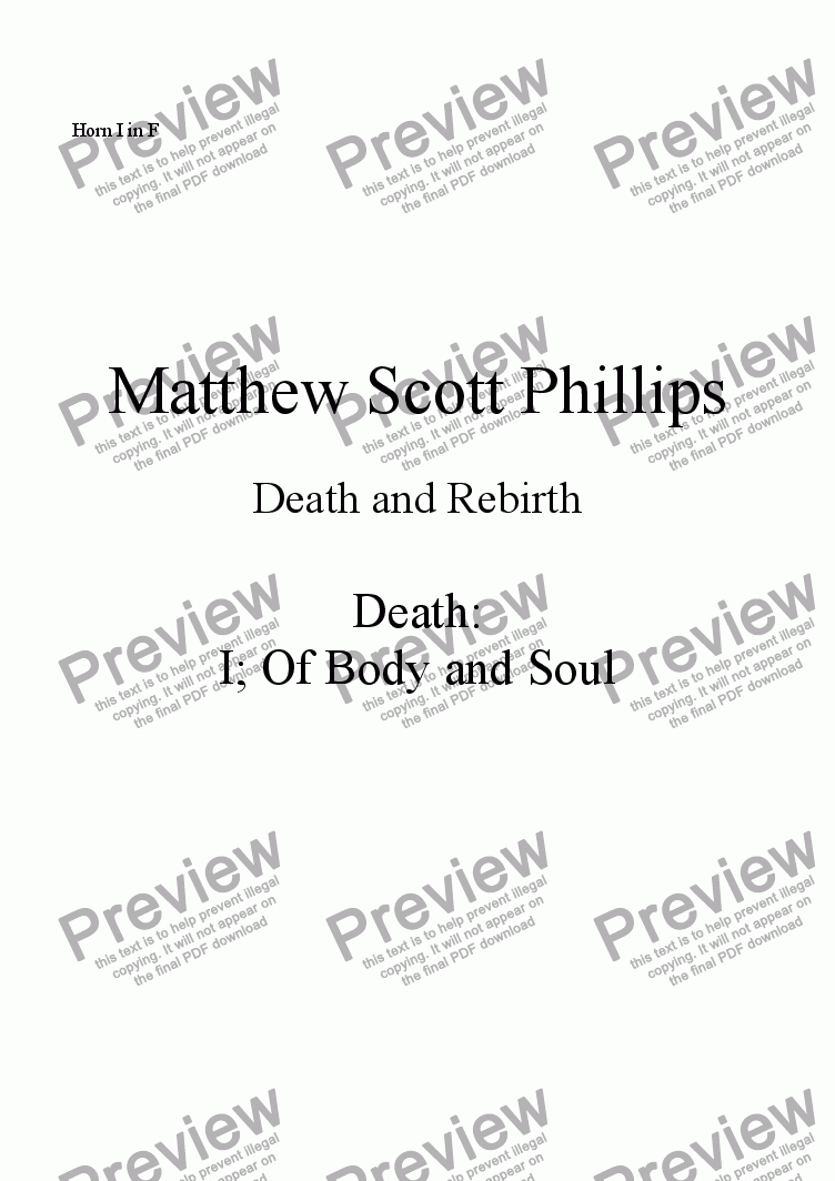 page one of the Horn I in F part from 001: Death; Of Body and Soul