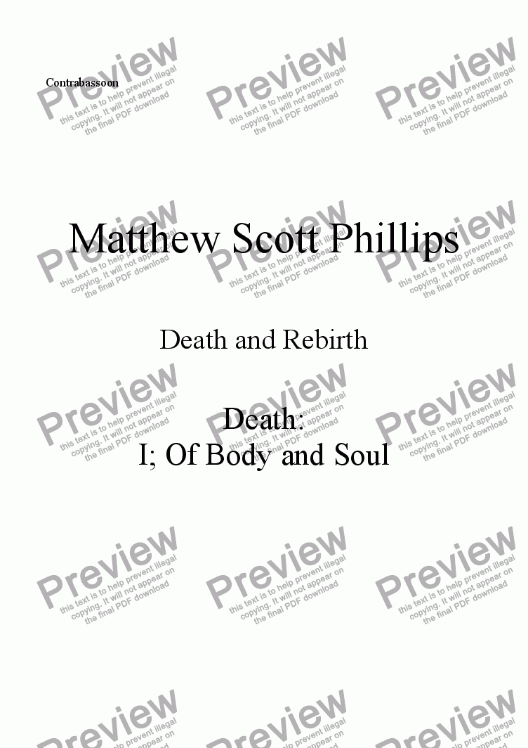 page one of the Contrabassoon part from 001: Death; Of Body and Soul