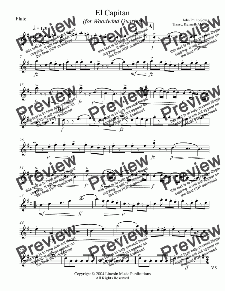 page one of the Flute part from March - El Capitan (Woodwind Quartet)