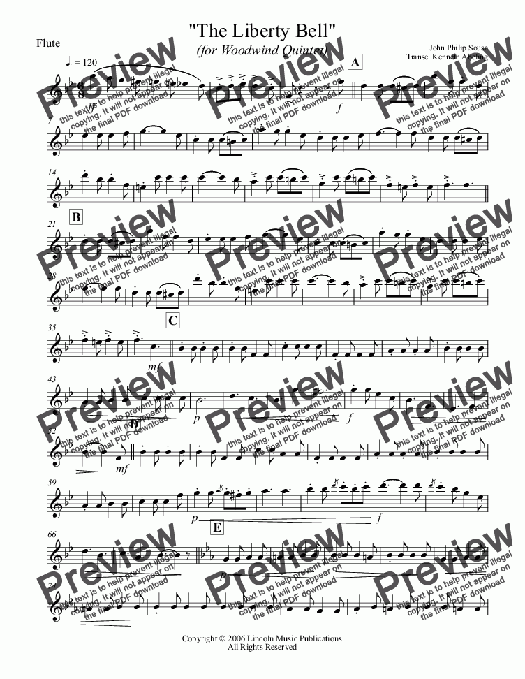 page one of the Flute part from March - The Liberty Bell (Woodwind Quintet)