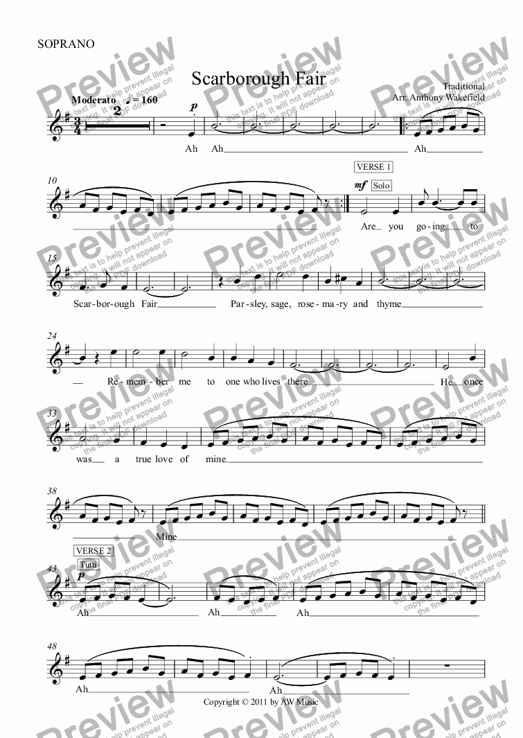 page one of the SOPRANO part from Scarborough Fair