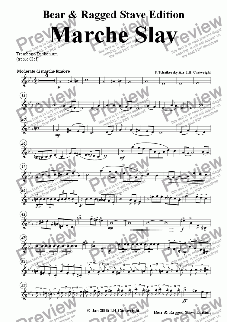 page one of the Trombone/Euphonium (treble clef) part from Marche Slav for brass quintet