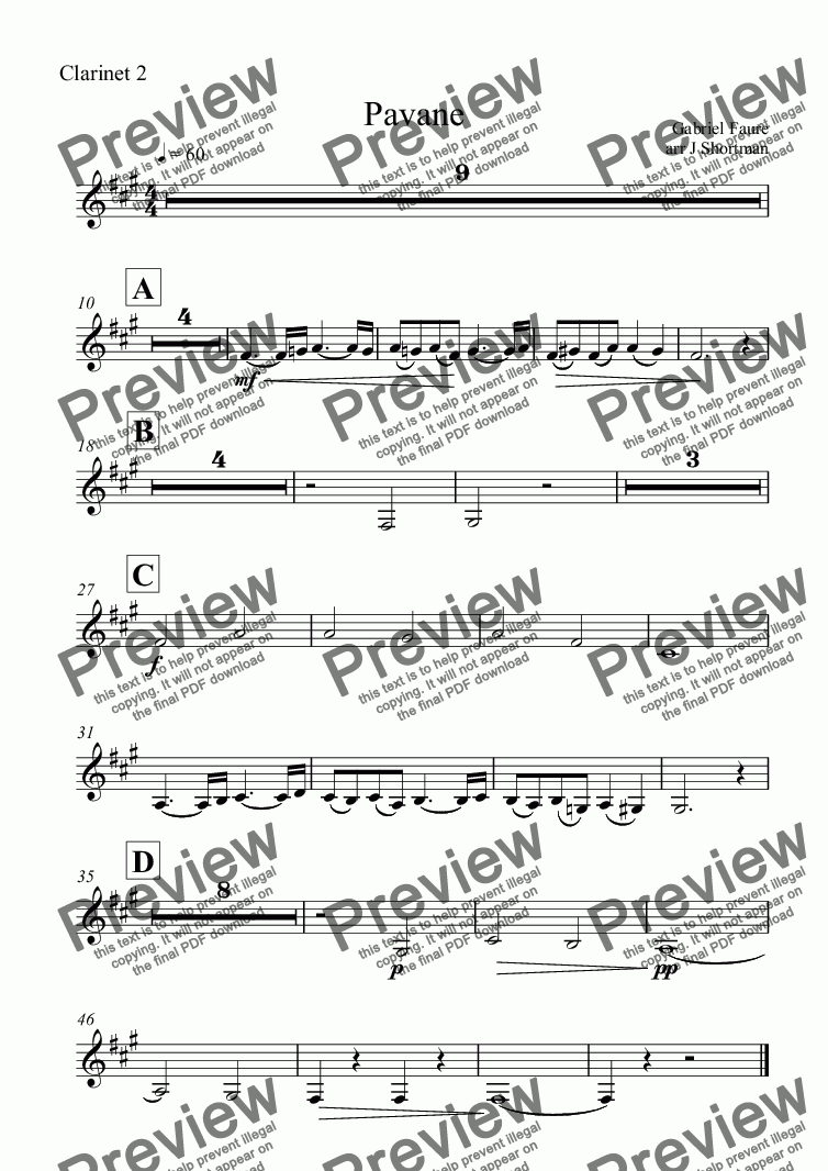 page one of the Clarinet 2 part from Faure - Pavane (arranged for training orchestra)