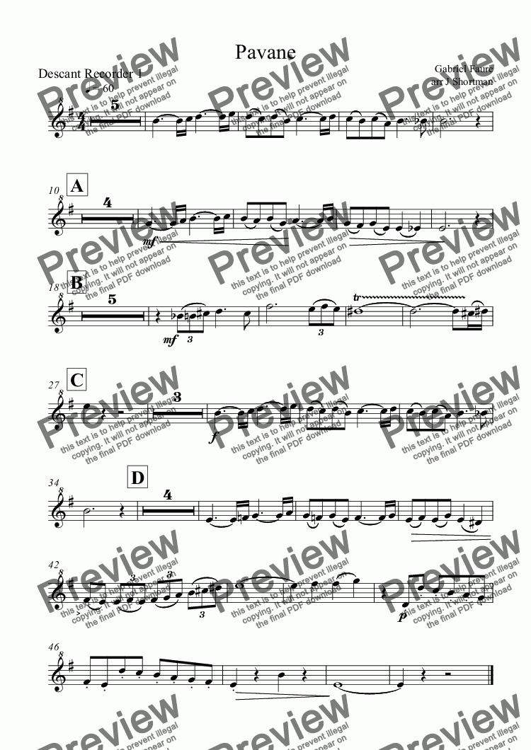 page one of the Descant Recorder 1 part from Faure - Pavane (arr for Recorder Ensemble)