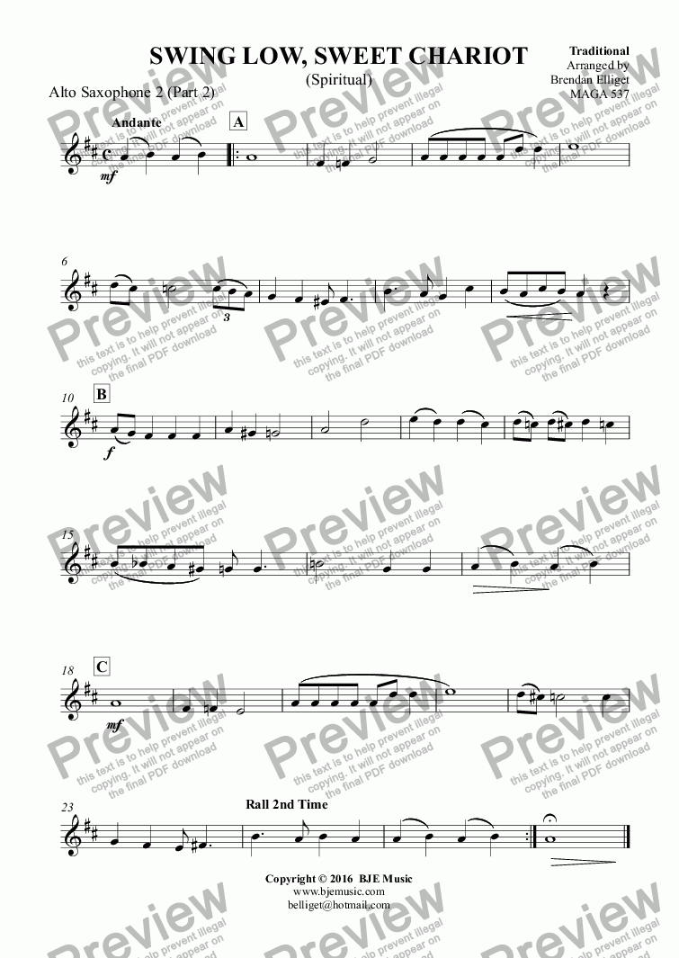page one of the Alto Saxophone 2 (Part 2) part from SWING LOW, SWEET CHARIOT (Spiritual) - Flexible Woodwind Quartet or Ensemble