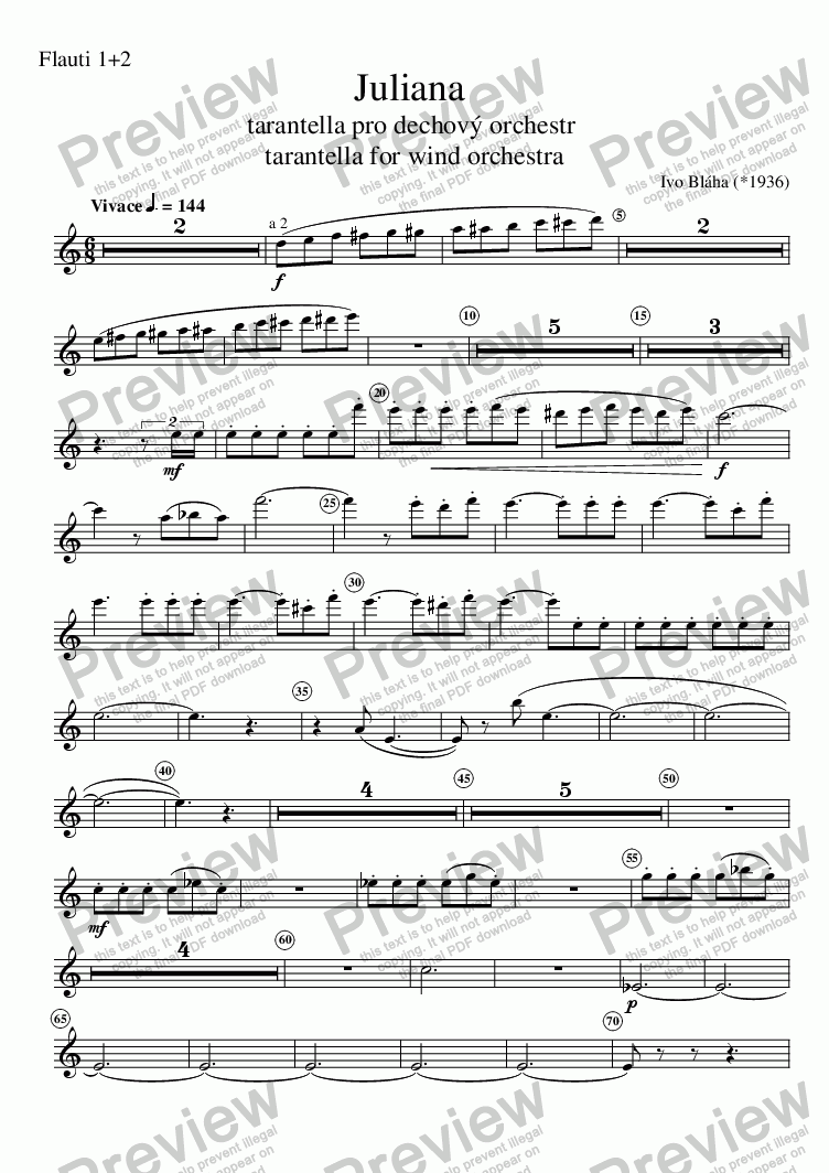 page one of the Flauti 1+2 part from JULIANA - tarantella for wind orchestra