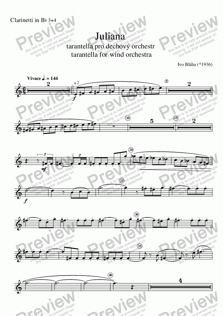 page one of the Clarinetti in B^b 3+4 part from JULIANA - tarantella for wind orchestra