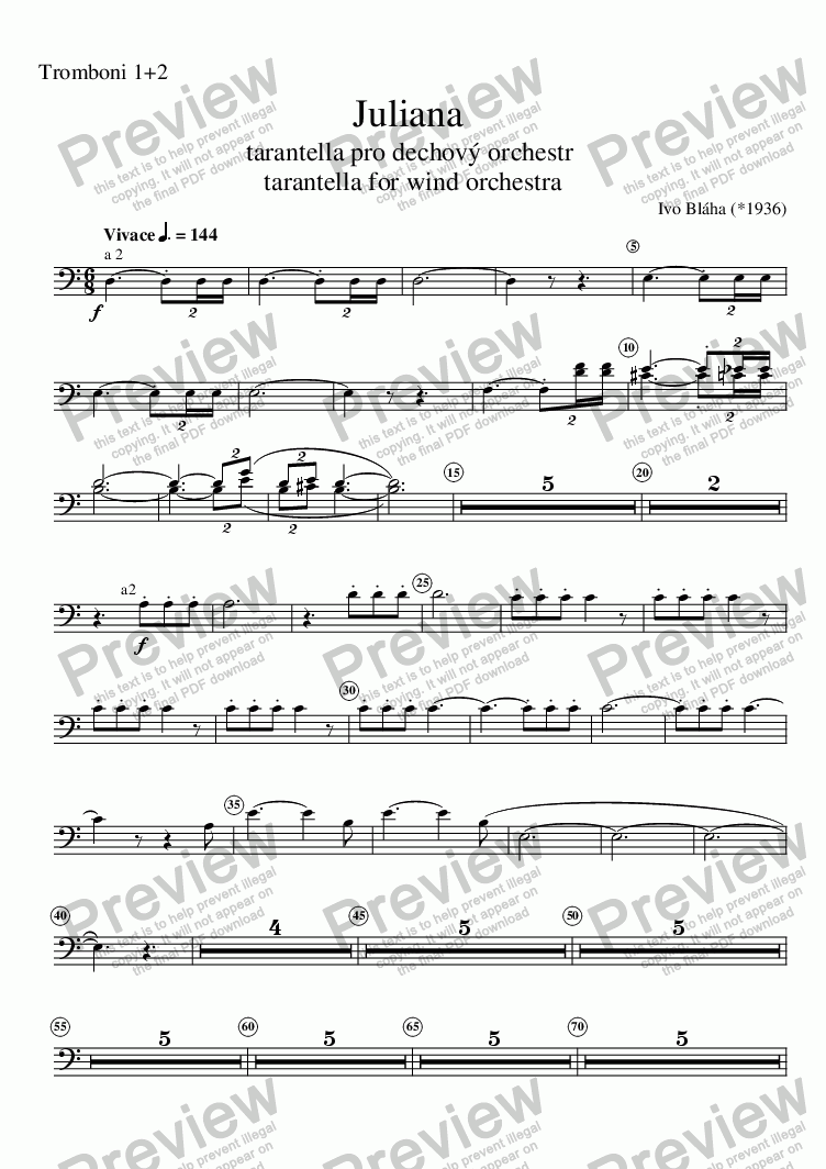 page one of the Tromboni 1+2 part from JULIANA - tarantella for wind orchestra