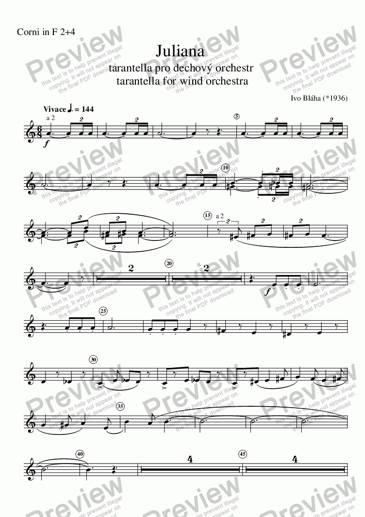 page one of the Corni in F 2+4 part from JULIANA - tarantella for wind orchestra