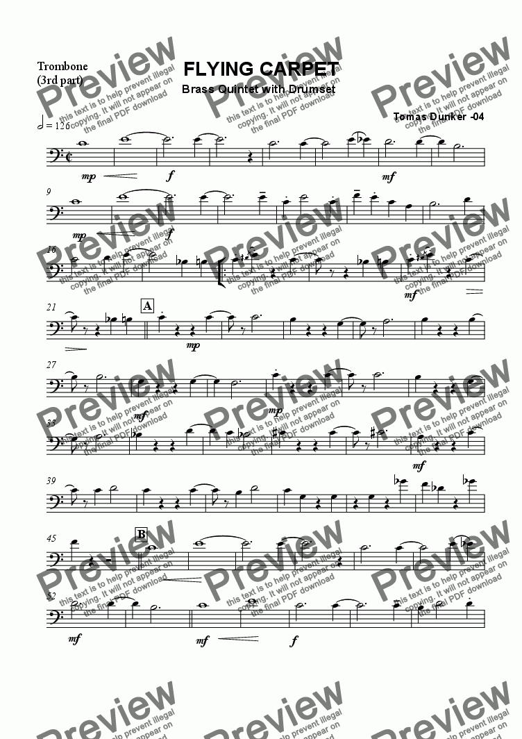 page one of the Trombone (Part 3) part from Mimas March (Brass or Mixed Quintet)