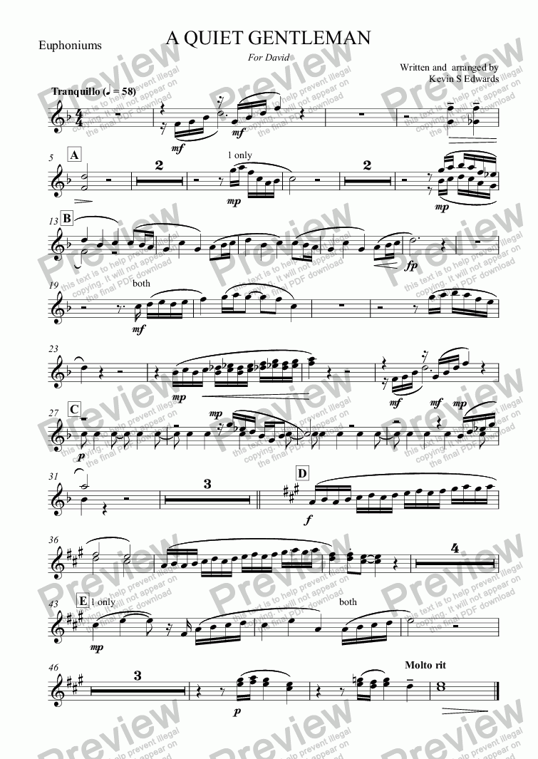 page one of the Euphoniums part from A QUIET GENTLEMAN (flugel horn solo with Brass Band)