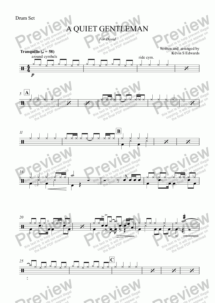 page one of the Drum Set part from A QUIET GENTLEMAN (flugel horn solo with Brass Band)