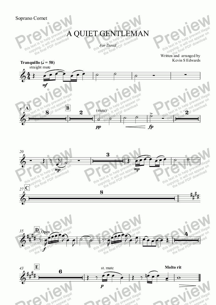 page one of the Soprano Cornet part from A QUIET GENTLEMAN (flugel horn solo with Brass Band)
