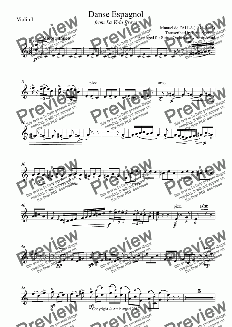 page one of the Violin I part from Manuel de FALLA  Danse Espagnol La Vida Breve for violin solo and string orchestra Spanish dance by Kreisler arranged by Amir Awad