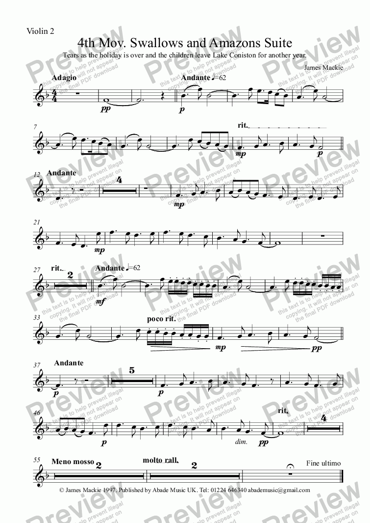 page one of the Violin 2 part from Leaving (4th Mov. Swallows and Amazons Suite)