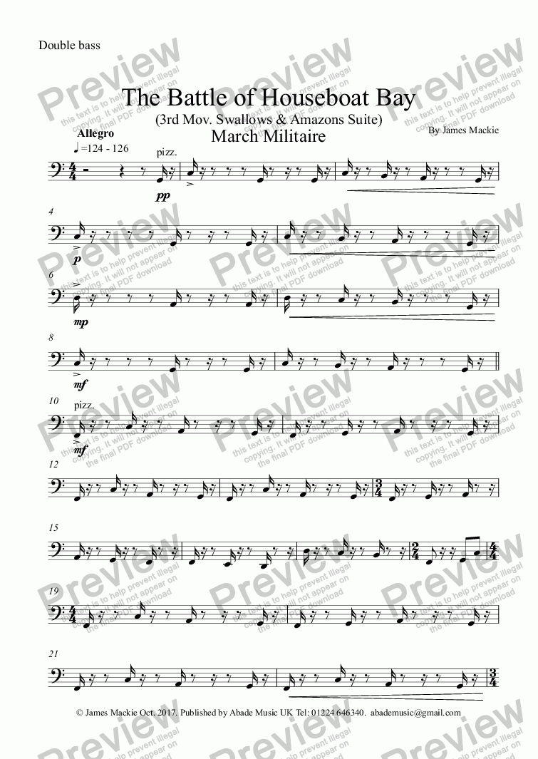 page one of the Double bass part from The Battle (3rd Mov. Swallows & Amazons Suite)