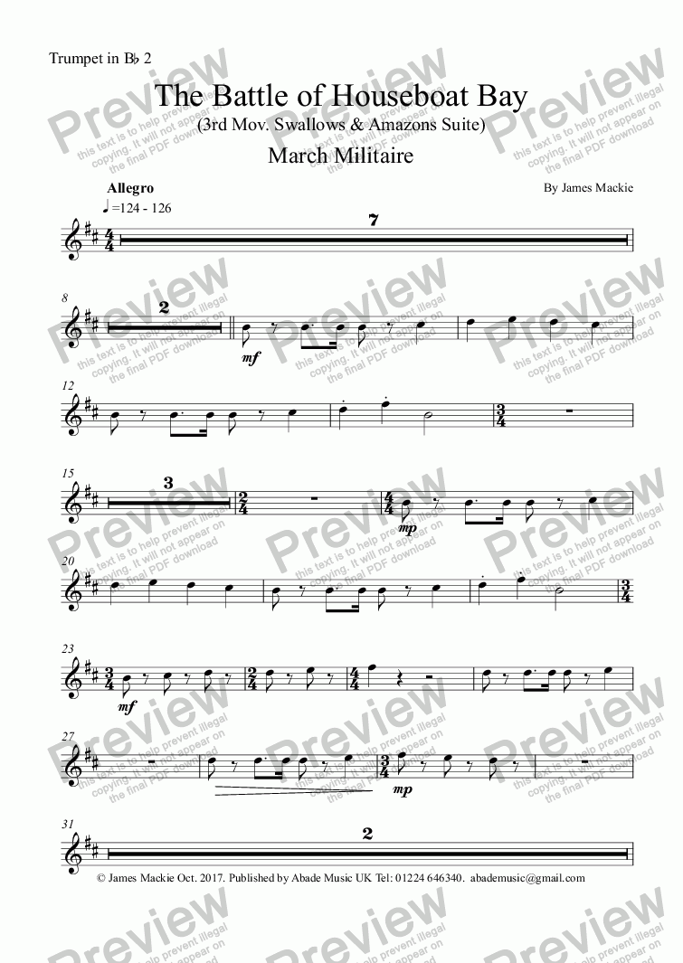 page one of the Trumpet in Bb 2 part from The Battle (3rd Mov. Swallows & Amazons Suite)