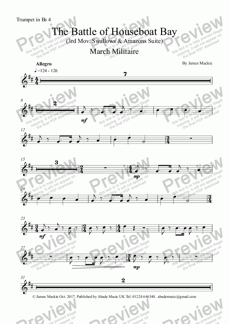 page one of the Trumpet in Bb 4 part from The Battle (3rd Mov. Swallows & Amazons Suite)