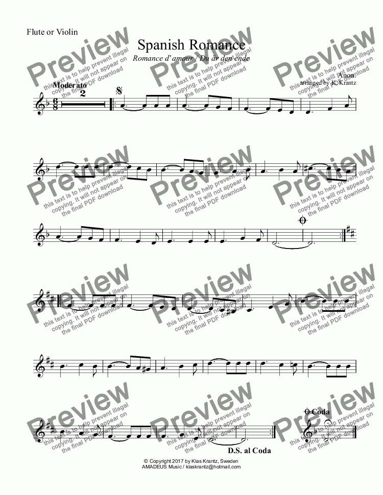 page one of the Clarinet in Bb part from Spanish Romance / Romanza for clarinet in Bb and easy piano