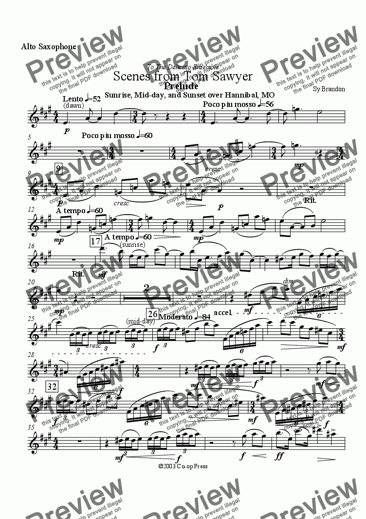 page one of the Alto Saxophone sunstitute for Bb Clarinet part from Scenes From Tom Sawyer for Flute, Clarinet or Alto saxophone and Piano